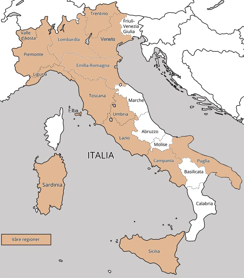 Regionskart over Italia. Illustrasjon.